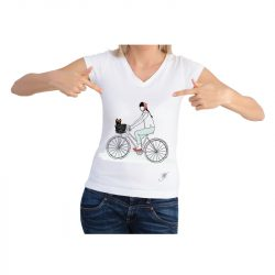 dog lover short sleeve shirt featuring girl on a bike with yorkie